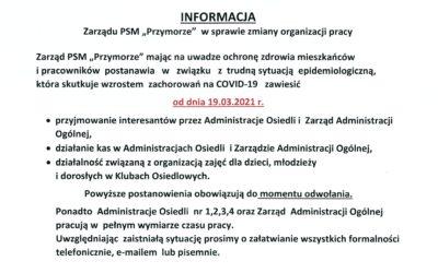 Informacja w sprawie zmiany organizacji pracy.